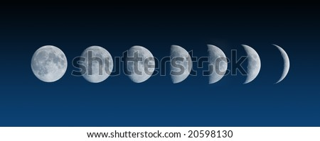 Changing phases of the Moon - stock photo