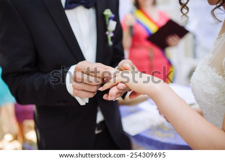 changing rings  - stock photo