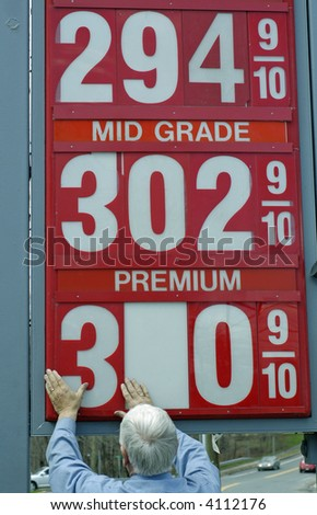Changing the Price of Gas - stock photo
