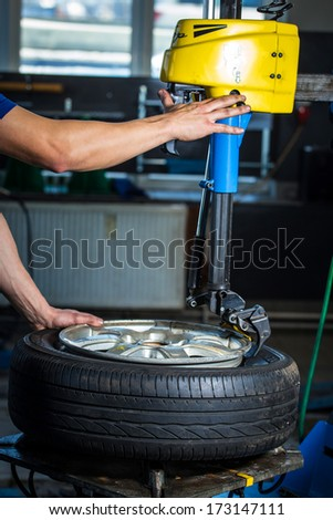 changing tires - stock photo