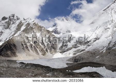 Changtse, Khumbutse, and Mt. Everest in Nepal - stock photo