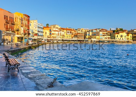 Chania, Crete - 25 Maj, 2016: old harbor in Chania, Greece. Chania is the second largest city of Crete