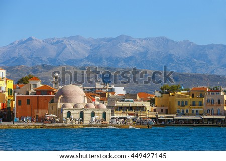 Chania, Crete - 23 Maj, 2016: View of the old port of Chania on Crete, Greece. Chania is the second largest city of Crete.