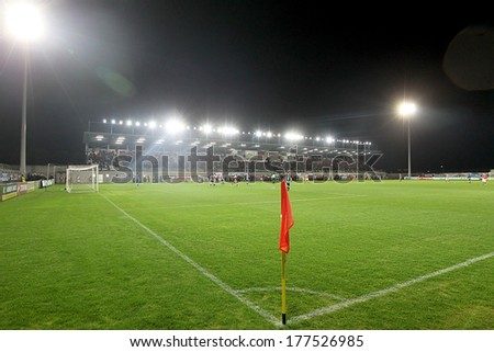 CHANIA, GREECE - FEB 2 : Red corner flag and view of the full stadium during the Greek Superleague game Platanias vs Paok on February 2, 2014.