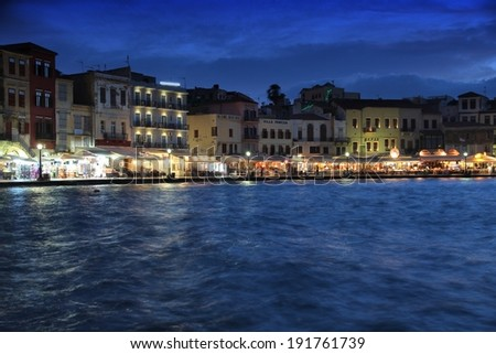 CHANIA, GREECE - MAY 23, 2013: People visit Chania, Crete. Chania is the 2nd largest municipality in Crete (108,642 inhabitants in 2011). Chania was top destination in Greece in 2013 (Tripadvisor).