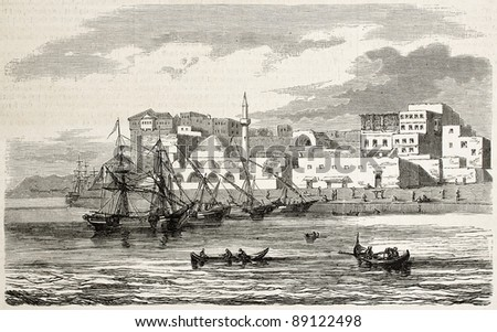 Chania old view, Crete island. By unidentified author, published on L'Illustration, Journal Universel, Paris, 1858 - stock photo
