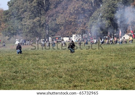 CHANNAHON, IL - OCTOBER 17: Soldiers fight on the battlefield in the Civil War Days Reenactment on October 17, 2010 in Channahon, IL