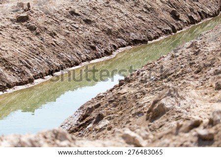 channel on land - stock photo