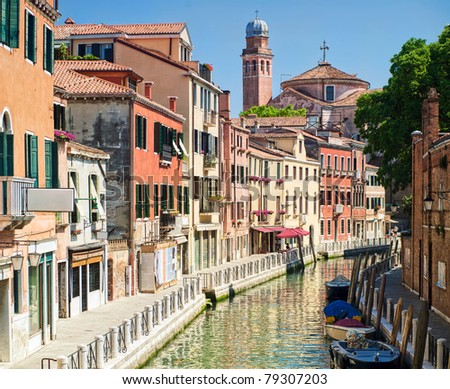Channel street in Venice, Italy - stock photo