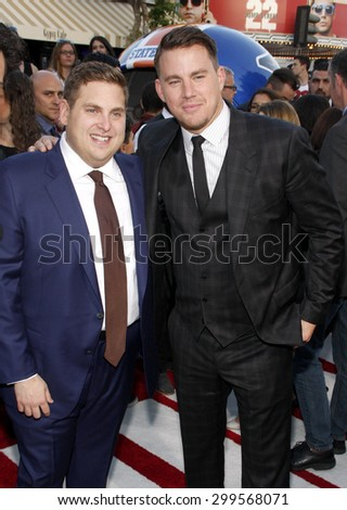 """Channing Tatum and Jonah Hill at the Los Angeles premiere of """"22 Jump Street"""" held at the Regency Village Theatre in Los Angeles, United States, 100614.  - stock photo"""