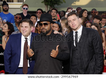 """Channing Tatum, Ice Cube and Jonah Hill at the Los Angeles premiere of """"22 Jump Street"""" held at the Regency Village Theatre in Los Angeles, United States, 100614.  - stock photo"""