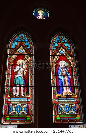 CHANTHABURI, THAILAND - DECEMBER 29: Stained glass on December 29, 2013. at The catholic church at Chanthaburi, Thailand.