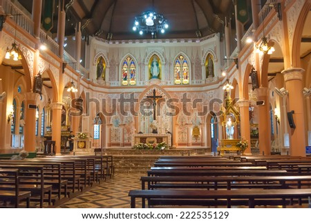 CHANTHABURI, THAILAND - JUNE 20:  Interior view of a Cathedral of the Immaculate Conception, on June 20, 2013 in Chantaburi, Thailand.