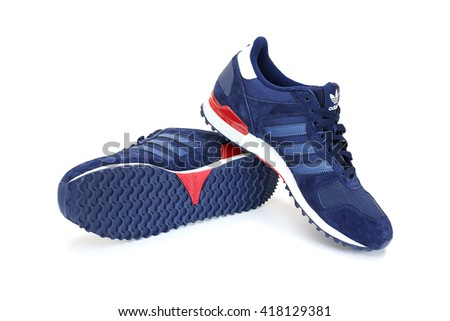 CHANTHABURI, THAILAND - MAY 1: Adidas ZX 700 shoes pair with isolated on white background, product shot on May 1, 2016 in Chanthaburi, Thailand. - stock photo