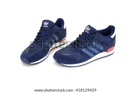 CHANTHABURI, THAILAND - MAY 1: Adidas ZX 700 shoes pair with isolated on white background, product shot on May 1, 2016 in Chanthaburi, Thailand.