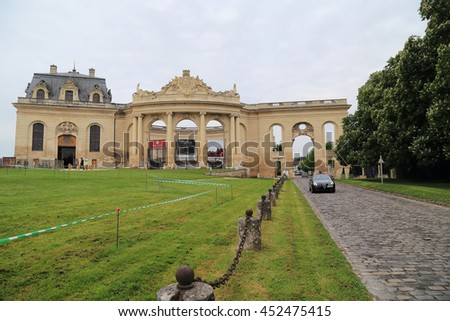 CHANTILLY, FRANCE - MAY 14, 2015: This building is called the Great Stable, it is unique in the world Horses Museum.