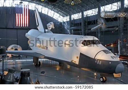CHANTILLY, VIRGINIA - AUGUST 15: Nasa's Space Shuttle Enterprise at the National Air and Space Museum's Steven F. Udvar-Hazy Center.   Photographed August 15, 2007 in Chantilly, Virginia. - stock photo