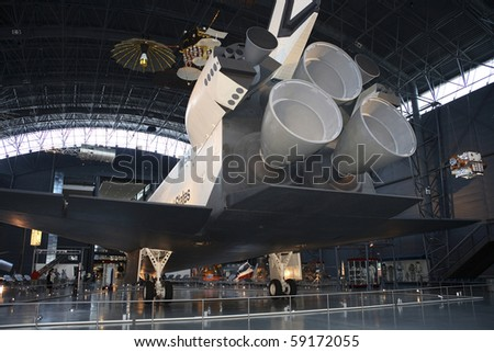 CHANTILLY, VIRGINIA - AUGUST 15: Space Shuttle Enterprise at the National Air and Space Museum's Steven F. Udvar-Hazy Center.   Photographed 15, August 2007 in Chantilly, Virginia. - stock photo