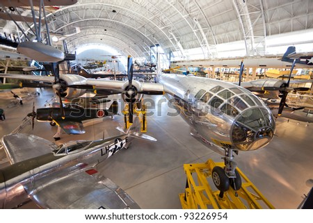 "CHANTILLY, VIRGINIA - OCTOBER 10: Boeing B-29 Superfortress Enola Gay. On 6 August 1945 the bomb, code-named ""Little Boy"", was targeted by B-29 at the Hiroshima. October 10, 2011, Chantilly, Virginia."