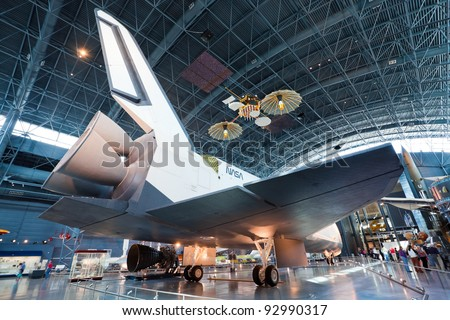 CHANTILLY, VIRGINIA - OCTOBER 10: Enterprise at the National Air and Space Museum on October 10, 2011. It was the first Space Shuttle orbiter. On September 17, 1976 the first prototype was completed. - stock photo