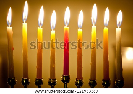 Chanukah candles all in a row - stock photo