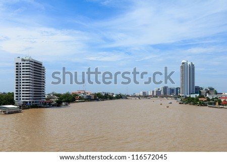 Chao  Phraya river middle of Bangkok Thailand