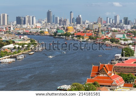 Chao Phraya river of Bangkok Thailand - stock photo
