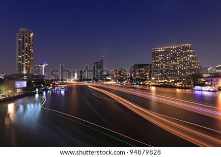 chaopraya river at twilight, Bangkok, Thailand