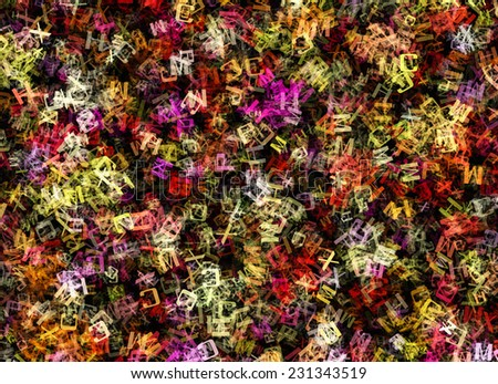 chaotic flying of many abstract multicolored alphabet letters - stock photo