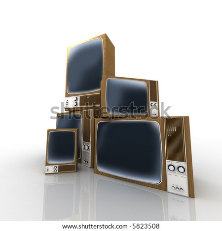 Chaotic heap of vintage televisions - stock photo