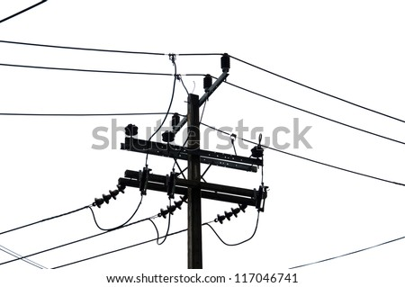Chaotic mess of a wires on a pillar - stock photo