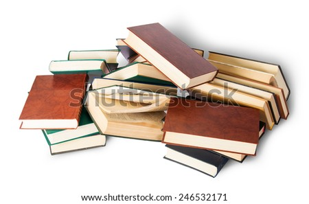Chaotically scattered old books isolated on white background - stock photo