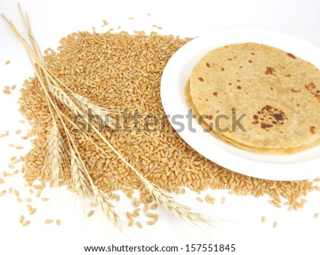 Chapati, Indian flat bread, made from wheat flour dough. - stock photo