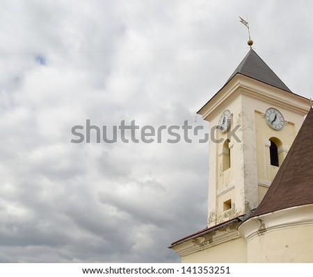 chapel at cloudy sky background