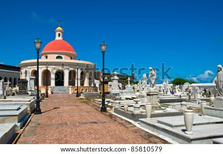 Chapel at Old San Juan Cemetery in Puerto Rico - stock photo