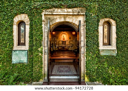 Chapel at the Mission of Nombre de Dios in St. Augustine, Florida - stock photo