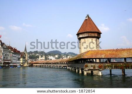 Chapel-bridge in Lucerne - stock photo