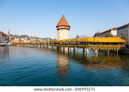 Chapel Bridge in Lucerne, Switzerland. - stock photo