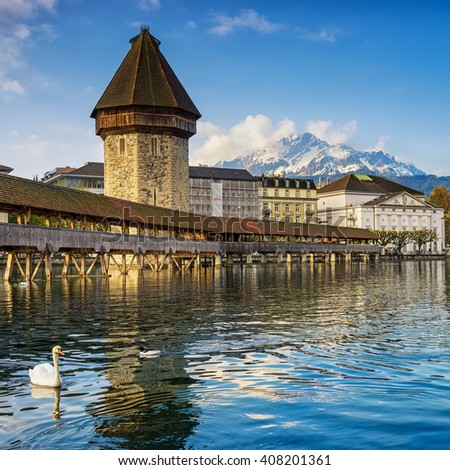 Chapel bridge is located on Lucerne historical city center, it's the famous and symbol of Switzerland's main tourist attractions.