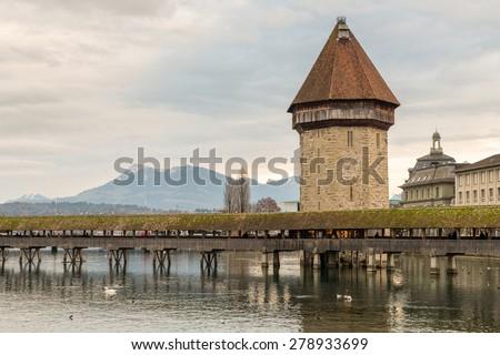 Chapel Bridge, Lucern - stock photo