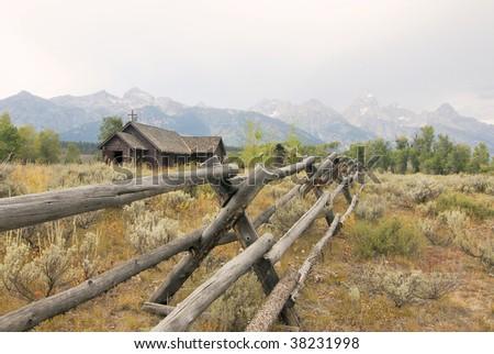 Chapel by Mountain Range - stock photo