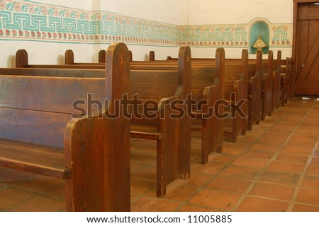 "Chapel/church interior; ""Asistencia""; Redlands, California - stock photo"