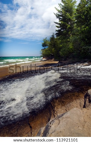 Chapel Creek empties into Lake Superior in the Pictured Rocks National Lakeshore, Alger Co., Mich.