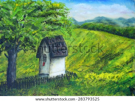 Chapel in nature under the linden tree, color oil painting. Beauty mountains and lake in the background. And beautiful blue cloud and sky - stock photo