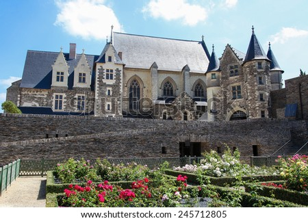 Chapel in the Chateau d'Angers or the famous historic castle of Angers, once capital of Anjou, in Marne-et-Loire, France. - stock photo