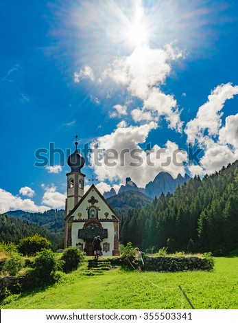 Chapel in the Dolomites, Italy