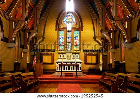 Chapel interior - early English Gothic style - stock photo