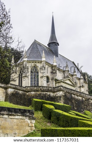 Chapel of castle. Chateau d'Usse located in commune of Rigny-Usse in Indre-et-Loire department, France. Stronghold at edge of Chinon forest overlooking Indre Valley was first fortified in XI century. - stock photo
