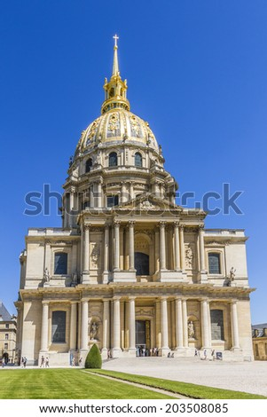 Chapel of Saint-Louis-des-Invalides (1679) in Paris. Les Invalides (National Residence of Invalids) - museum relating to military history of France. - stock photo
