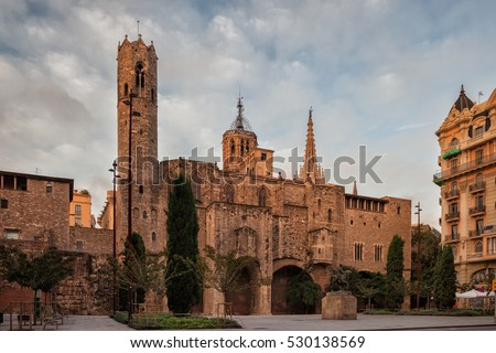 Chapel of St. Agatha and Roman wall in Barcelona, Catalonia, Spain, Gothic architecture, view from Placa Ramon Berenguer el Gran.